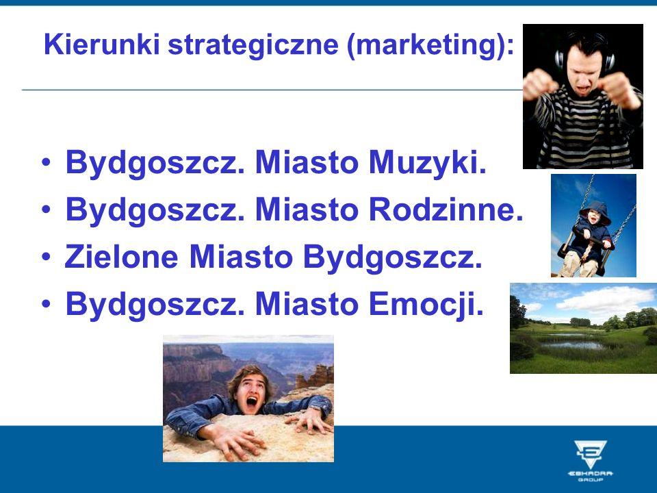 Kierunki strategiczne (marketing): Bydgoszcz. Miasto Muzyki. Bydgoszcz. Miasto Rodzinne. Zielone Miasto Bydgoszcz. Bydgoszcz. Miasto Emocji.