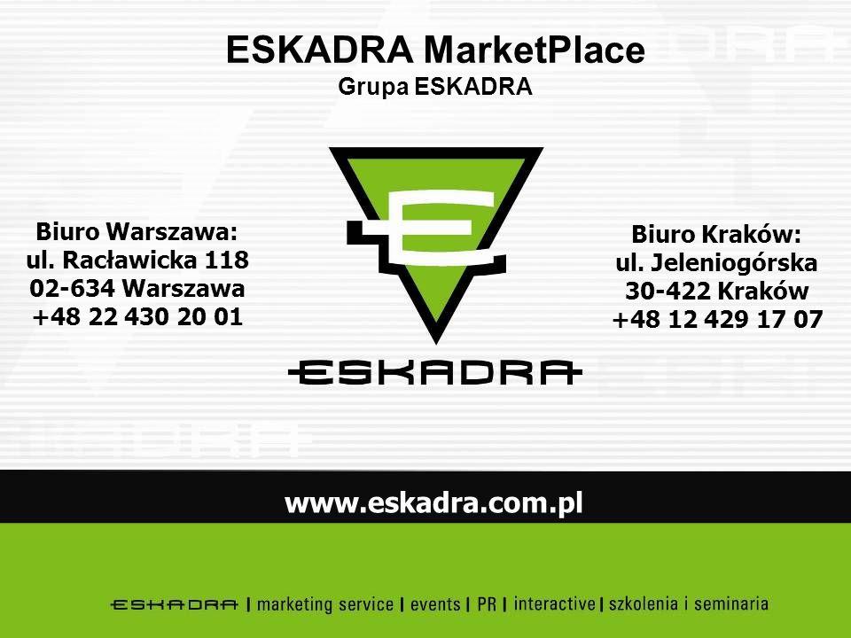 Biuro Kraków: ul. Jeleniogórska 30-422 Kraków +48 12 429 17 07 Biuro Warszawa: ul. Racławicka 118 02-634 Warszawa +48 22 430 20 01 www.eskadra.com.pl