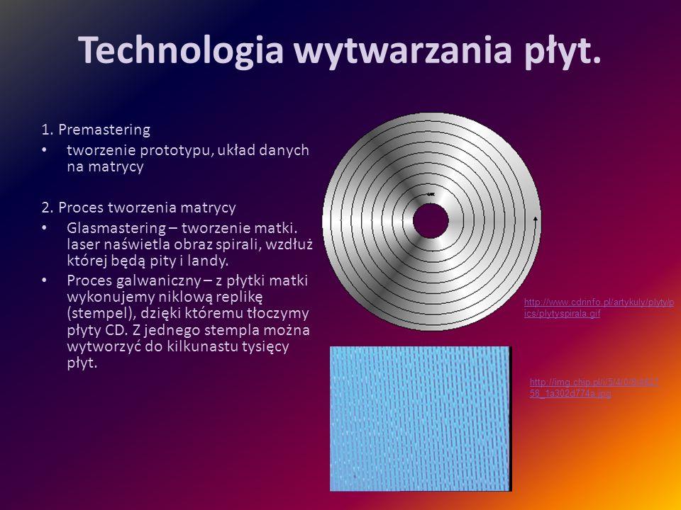 Technologia wytwarzania płyt. 1. Premastering tworzenie prototypu, układ danych na matrycy 2. Proces tworzenia matrycy Glasmastering – tworzenie matki