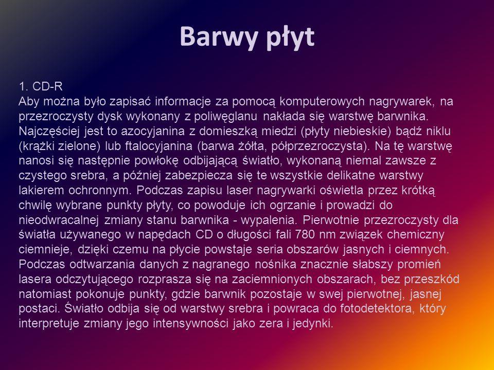 Barwy płyt 1. CD-R Aby można było zapisać informacje za pomocą komputerowych nagrywarek, na przezroczysty dysk wykonany z poliwęglanu nakłada się wars