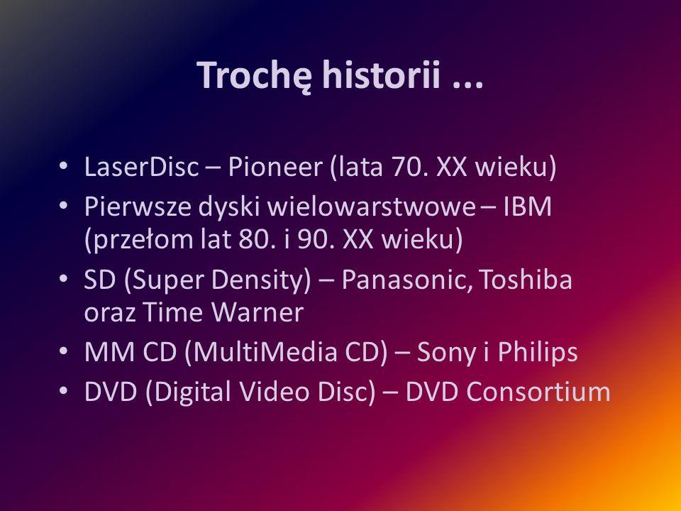 Trochę historii... LaserDisc – Pioneer (lata 70. XX wieku) Pierwsze dyski wielowarstwowe – IBM (przełom lat 80. i 90. XX wieku) SD (Super Density) – P