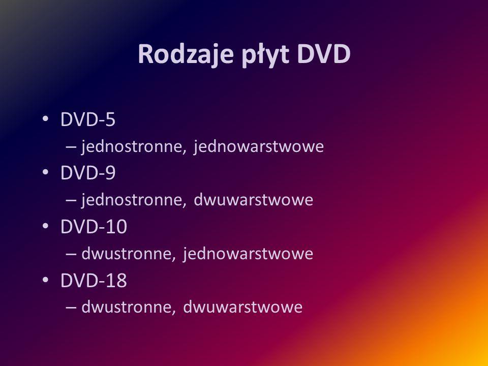 Rodzaje płyt DVD DVD-5 – jednostronne, jednowarstwowe DVD-9 – jednostronne, dwuwarstwowe DVD-10 – dwustronne, jednowarstwowe DVD-18 – dwustronne, dwuw