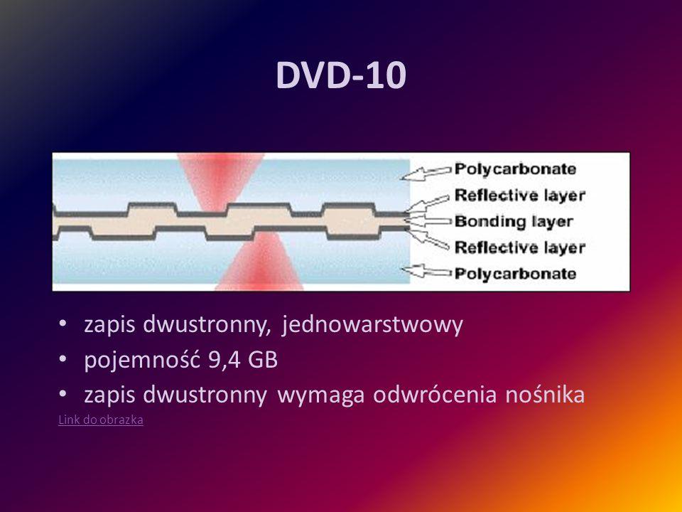DVD-10 zapis dwustronny, jednowarstwowy pojemność 9,4 GB zapis dwustronny wymaga odwrócenia nośnika Link do obrazka