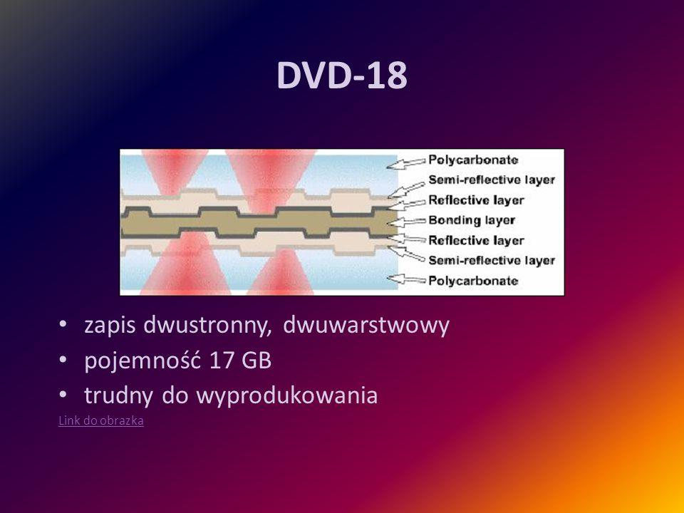 DVD-18 zapis dwustronny, dwuwarstwowy pojemność 17 GB trudny do wyprodukowania Link do obrazka