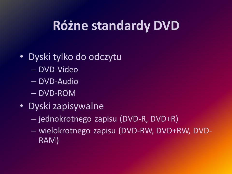 Różne standardy DVD Dyski tylko do odczytu – DVD-Video – DVD-Audio – DVD-ROM Dyski zapisywalne – jednokrotnego zapisu (DVD-R, DVD+R) – wielokrotnego z
