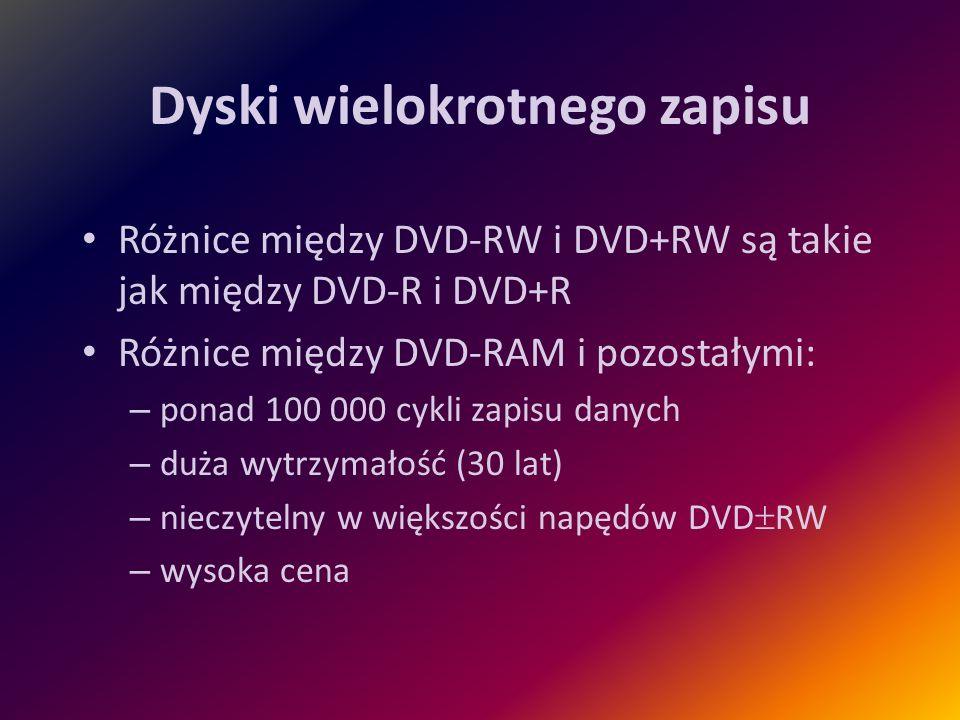 Dyski wielokrotnego zapisu Różnice między DVD-RW i DVD+RW są takie jak między DVD-R i DVD+R Różnice między DVD-RAM i pozostałymi: – ponad 100 000 cykl