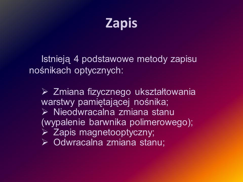 Odczyt Źródło: http://pcu.republika.pl/CD/CDROM_pliki/image003.jpghttp://pcu.republika.pl/CD/CDROM_pliki/image003.jpg Odczyt nośnika optycznego polega na oddziaływaniu na zapisaną ścieżkę laserem o odpowiednio dobranej mocy.