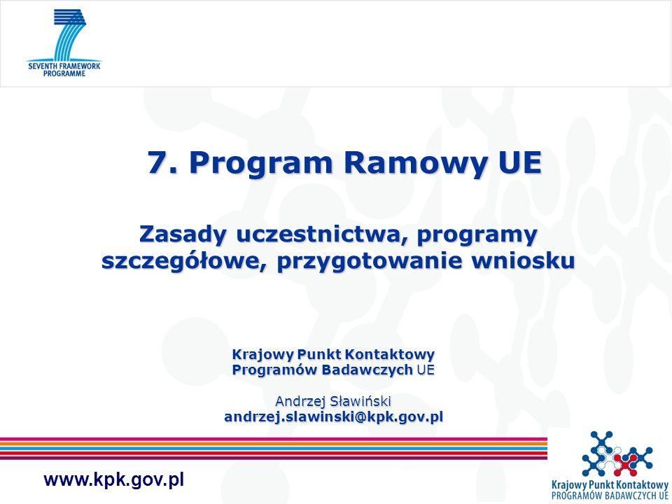 www.kpk.gov.pl 7. Program Ramowy UE Zasady uczestnictwa, programy szczegółowe, przygotowanie wniosku 7. Program Ramowy UE Zasady uczestnictwa, program