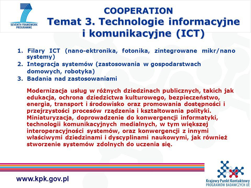 www.kpk.gov.pl COOPERATION Temat 3. Technologie informacyjne i komunikacyjne (ICT) 1. Filary ICT (nano-ektronika, fotonika, zintegrowane mikr/nano sys