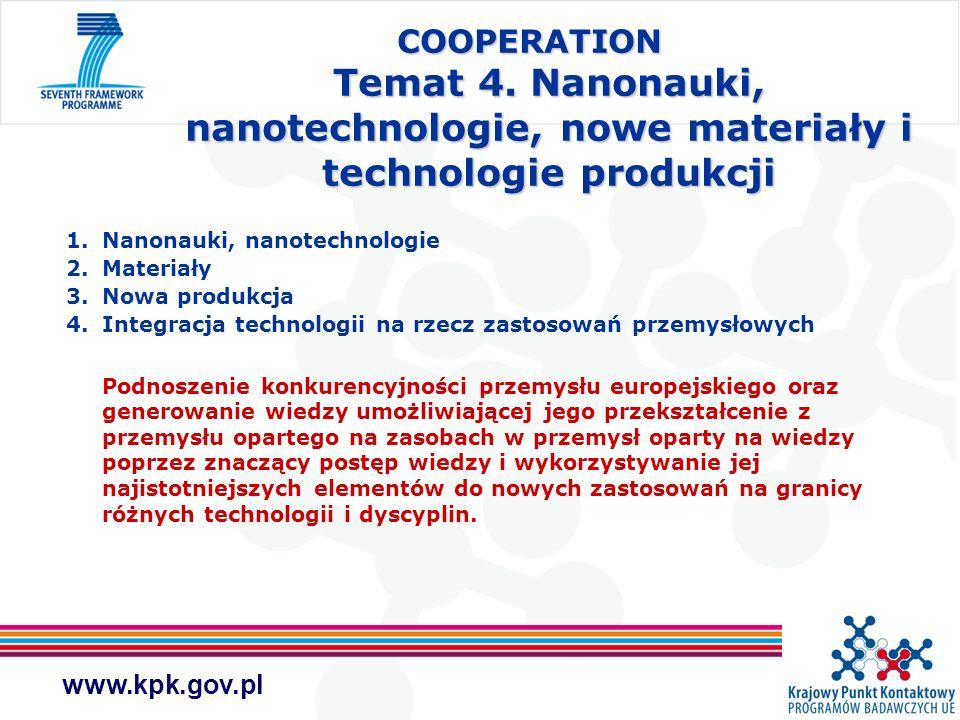 www.kpk.gov.pl COOPERATION Temat 4. Nanonauki, nanotechnologie, nowe materiały i technologie produkcji 1.Nanonauki, nanotechnologie 2.Materiały 3.Nowa