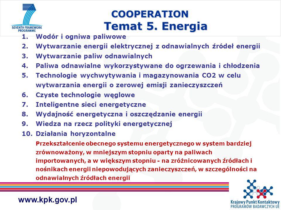 www.kpk.gov.pl COOPERATION Temat 5. Energia 1.Wodór i ogniwa paliwowe 2.Wytwarzanie energii elektrycznej z odnawialnych źródeł energii 3.Wytwarzanie p