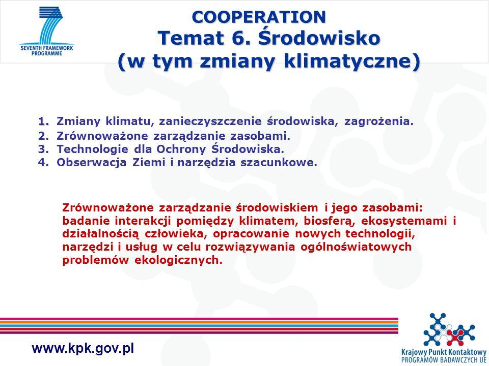 www.kpk.gov.pl COOPERATION Temat 6. Środowisko (w tym zmiany klimatyczne) 1. 1. Zmiany klimatu, zanieczyszczenie środowiska, zagrożenia. 2. Zrównoważo