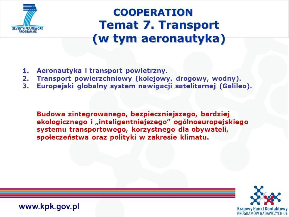 www.kpk.gov.pl COOPERATION Temat 7. Transport (w tym aeronautyka) 1. 1. Aeronautyka i transport powietrzny. 2. Transport powierzchniowy (kolejowy, dro