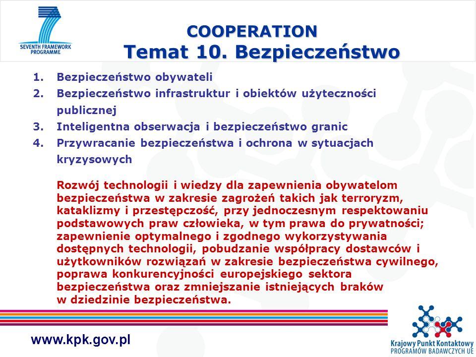 www.kpk.gov.pl COOPERATION Temat 10. Bezpieczeństwo 1.Bezpieczeństwo obywateli 2.Bezpieczeństwo infrastruktur i obiektów użyteczności publicznej 3.Int