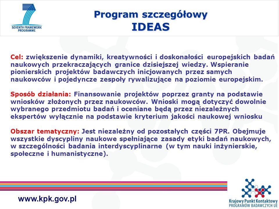 www.kpk.gov.pl Cel: zwiększenie dynamiki, kreatywności i doskonałości europejskich badań naukowych przekraczających granice dzisiejszej wiedzy. Wspier