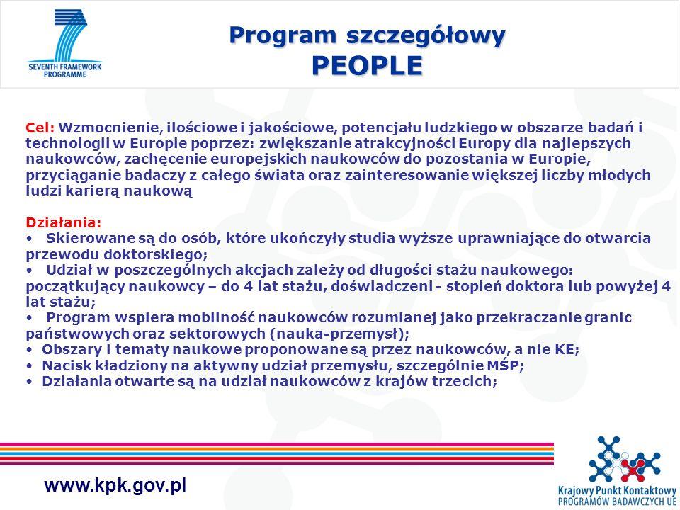 www.kpk.gov.pl Program szczegółowy PEOPLE Cel: Wzmocnienie, ilościowe i jakościowe, potencjału ludzkiego w obszarze badań i technologii w Europie popr
