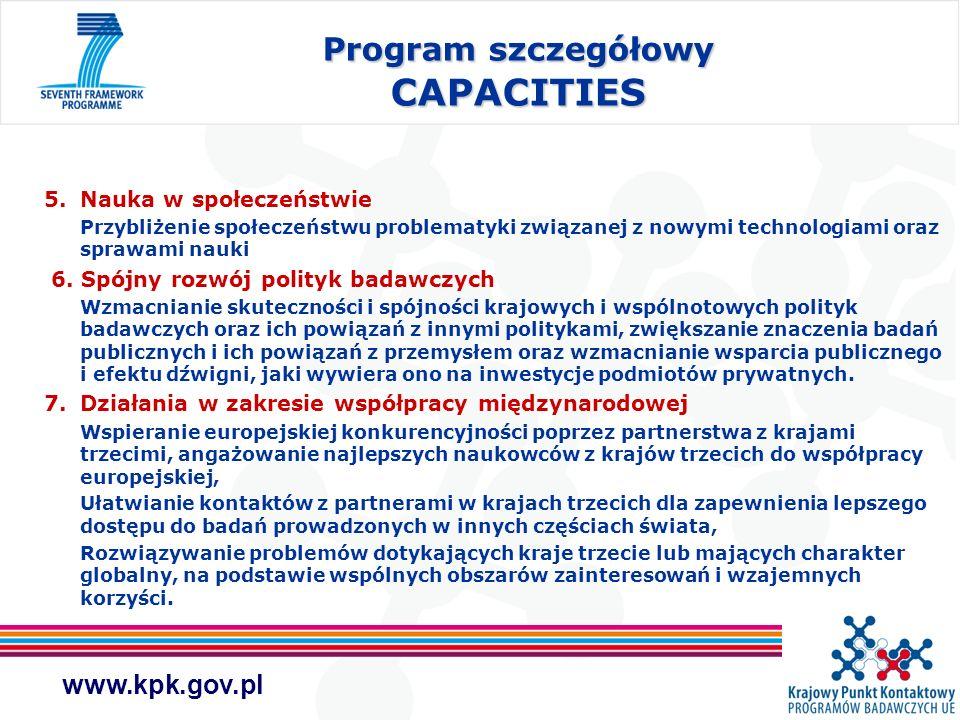 www.kpk.gov.pl Program szczegółowy CAPACITIES 5.Nauka w społeczeństwie Przybliżenie społeczeństwu problematyki związanej z nowymi technologiami oraz s