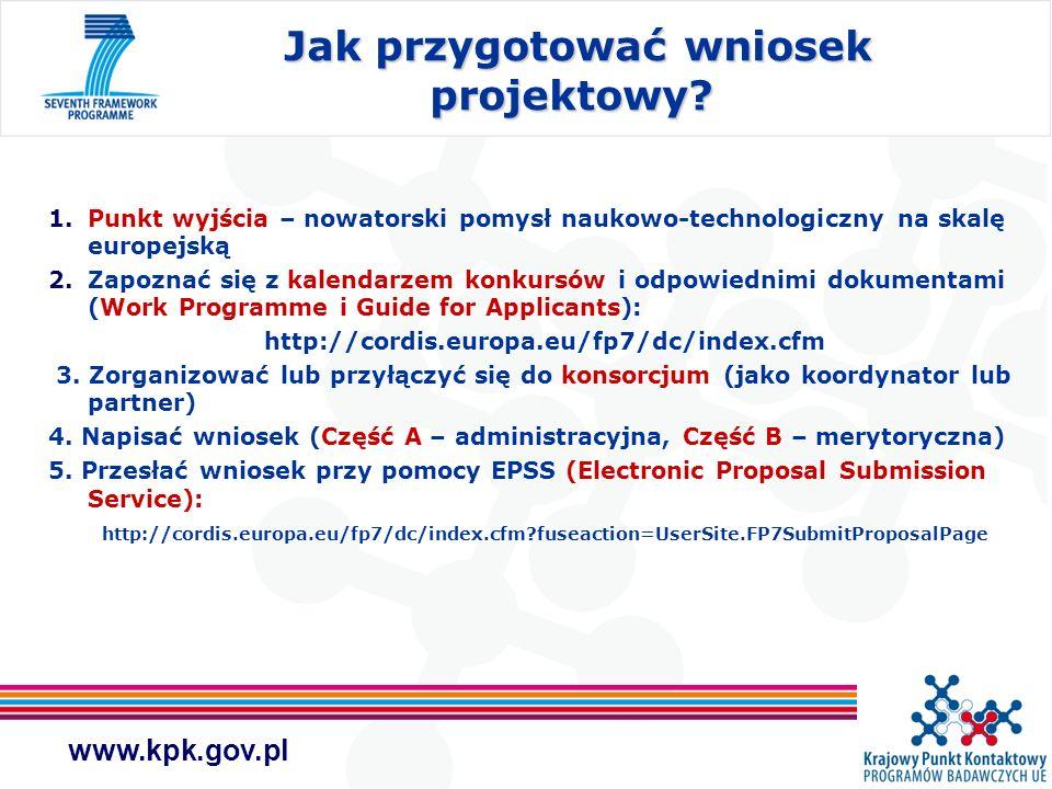 www.kpk.gov.pl Jak przygotować wniosek projektowy? Jak przygotować wniosek projektowy? 1.Punkt wyjścia – nowatorski pomysł naukowo-technologiczny na s
