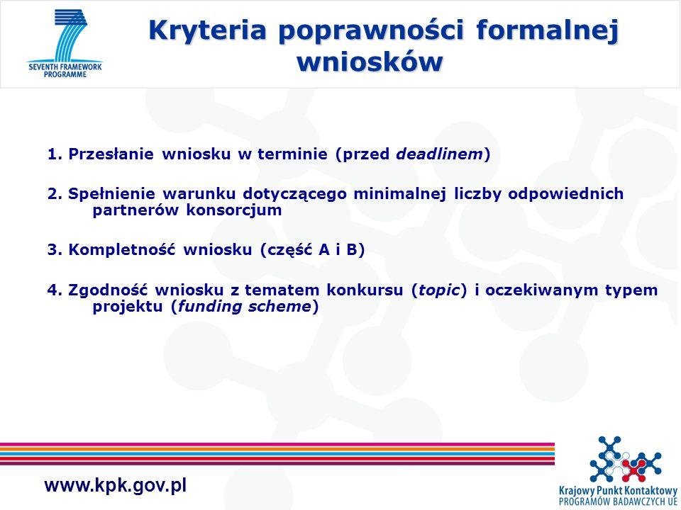 www.kpk.gov.pl 1. Przesłanie wniosku w terminie (przed deadlinem) 2. Spełnienie warunku dotyczącego minimalnej liczby odpowiednich partnerów konsorcju