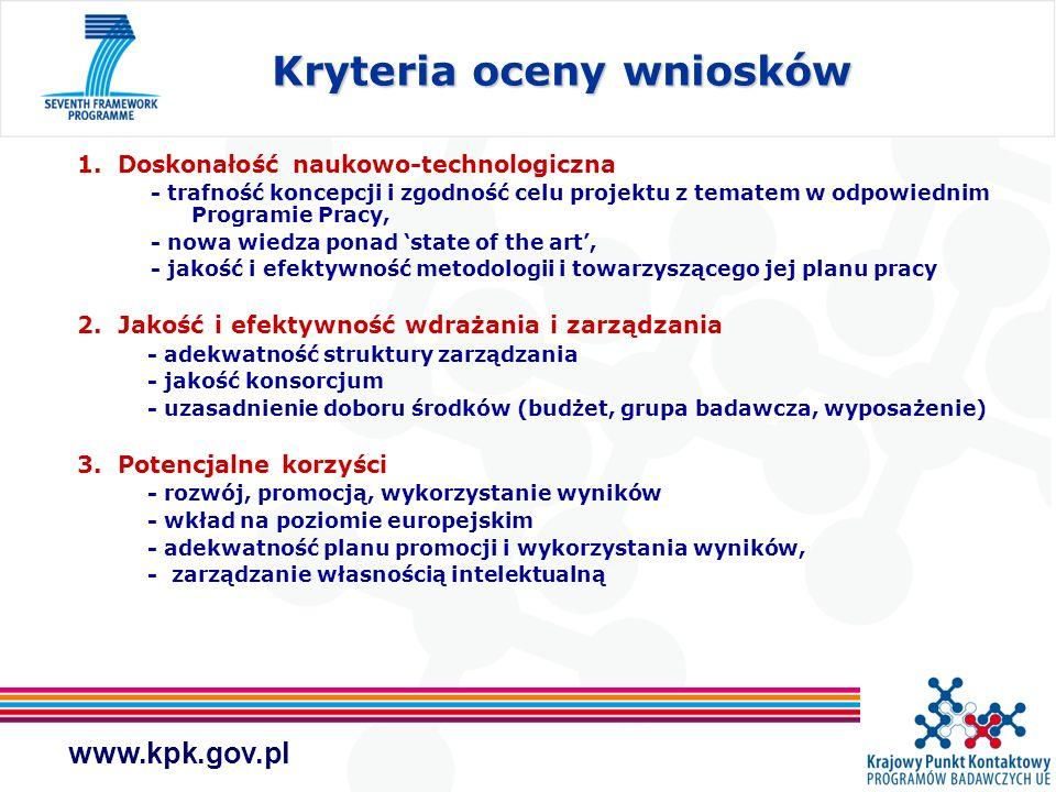 www.kpk.gov.pl 1. Doskonałość naukowo-technologiczna - trafność koncepcji i zgodność celu projektu z tematem w odpowiednim Programie Pracy, - nowa wie