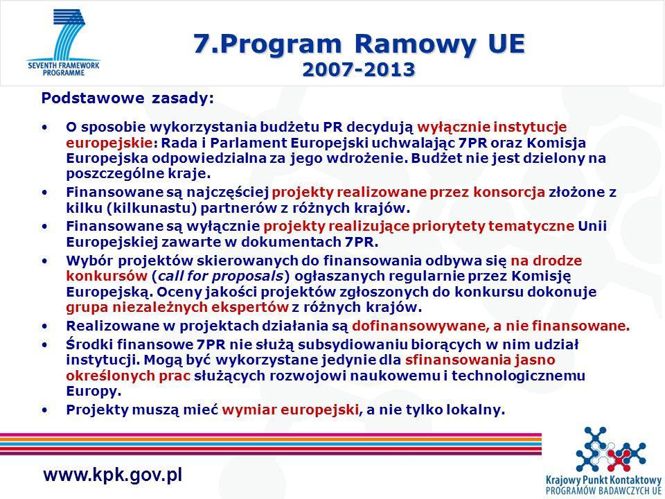 www.kpk.gov.pl 7.Program Ramowy UE 2007-2013 Różnice w porównaniu z poprzednimi Programami Ramowymi: Zwiększony budżet – wzrost o 63% w porównaniu z 6PR, zobowiązanie państw członkowskich do zwiększenia wydatków na badania z 2% do 3%, dodatkowe środki z przemysłu Nowe obszary badawcze (np.