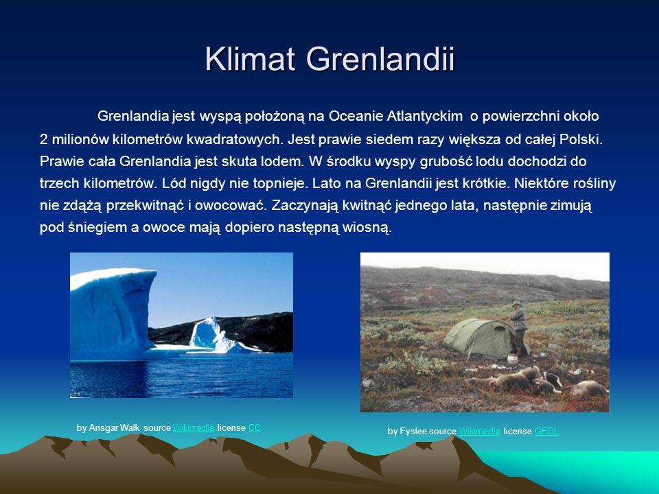 Klimat Grenlandii Grenlandia jest wyspą położoną na Oceanie Atlantyckim o powierzchni około 2 milionów kilometrów kwadratowych. Jest prawie siedem raz