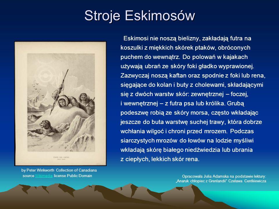 Stroje Eskimosów Eskimosi nie noszą bielizny, zakładają futra na koszulki z miękkich skórek ptaków, obróconych puchem do wewnątrz. Do polowań w kajaka