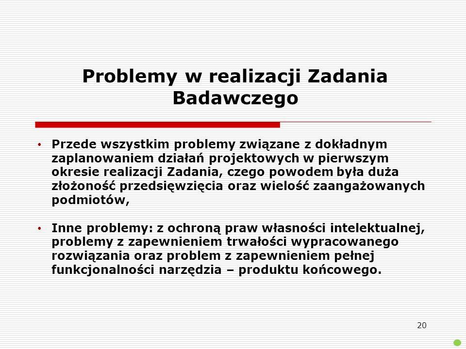 Problemy w realizacji Zadania Badawczego Przede wszystkim problemy związane z dokładnym zaplanowaniem działań projektowych w pierwszym okresie realiza