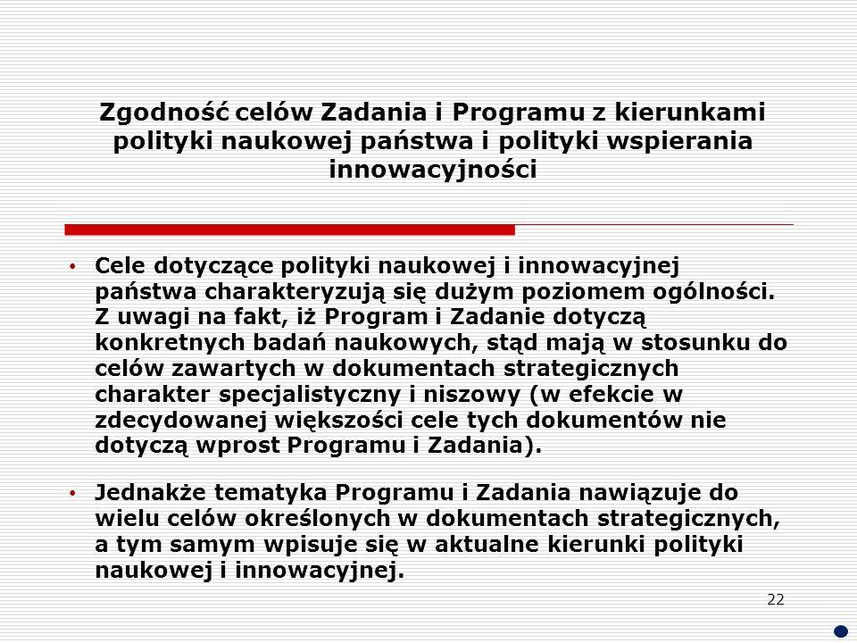 Zgodność celów Zadania i Programu z kierunkami polityki naukowej państwa i polityki wspierania innowacyjności Cele dotyczące polityki naukowej i innow