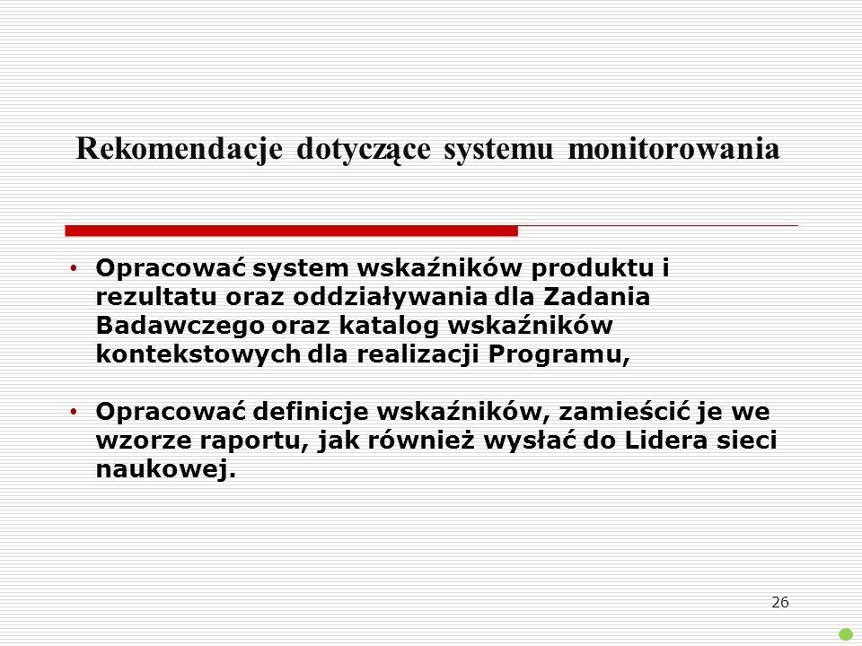 Rekomendacje dotyczące systemu monitorowania Opracować system wskaźników produktu i rezultatu oraz oddziaływania dla Zadania Badawczego oraz katalog w