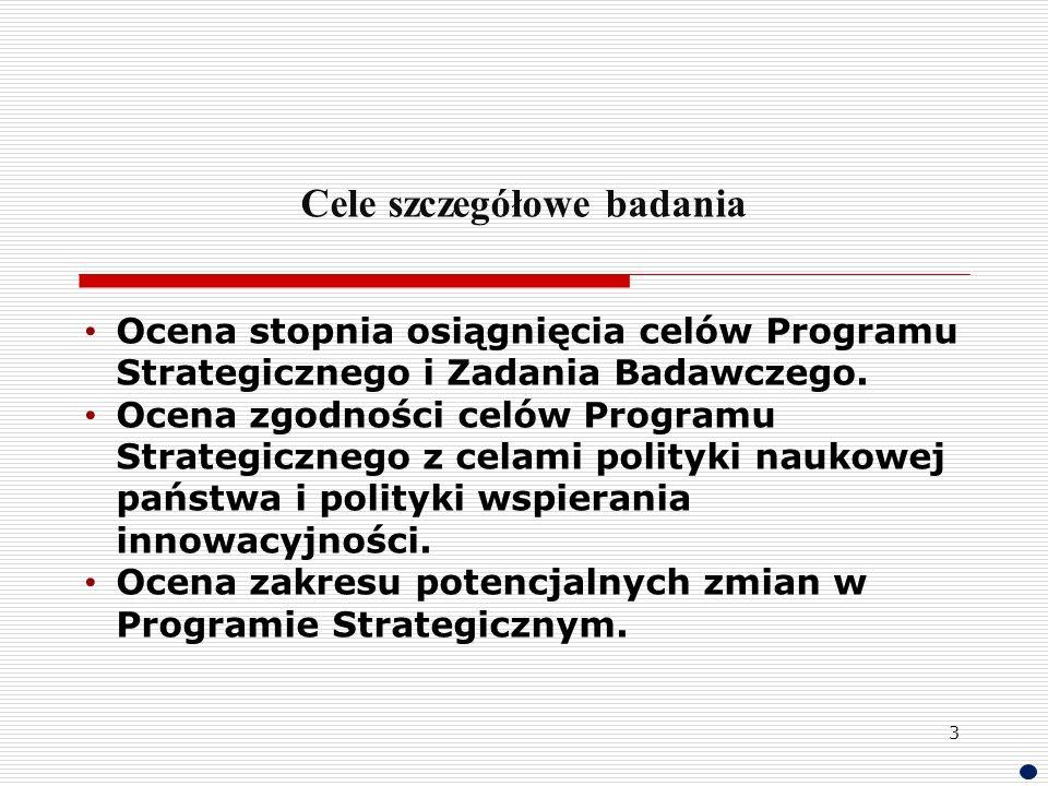 Cele szczegółowe badania Ocena stopnia osiągnięcia celów Programu Strategicznego i Zadania Badawczego. Ocena zgodności celów Programu Strategicznego z