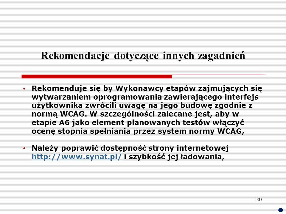 Rekomendacje dotyczące innych zagadnień Rekomenduje się by Wykonawcy etapów zajmujących się wytwarzaniem oprogramowania zawierającego interfejs użytko