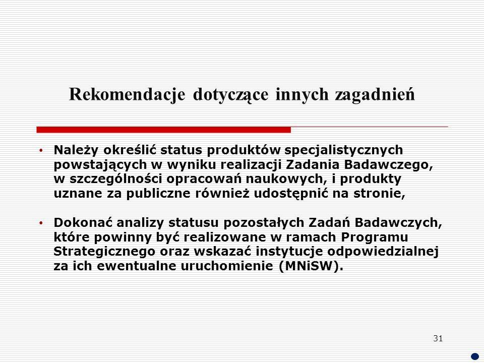Rekomendacje dotyczące innych zagadnień Należy określić status produktów specjalistycznych powstających w wyniku realizacji Zadania Badawczego, w szcz