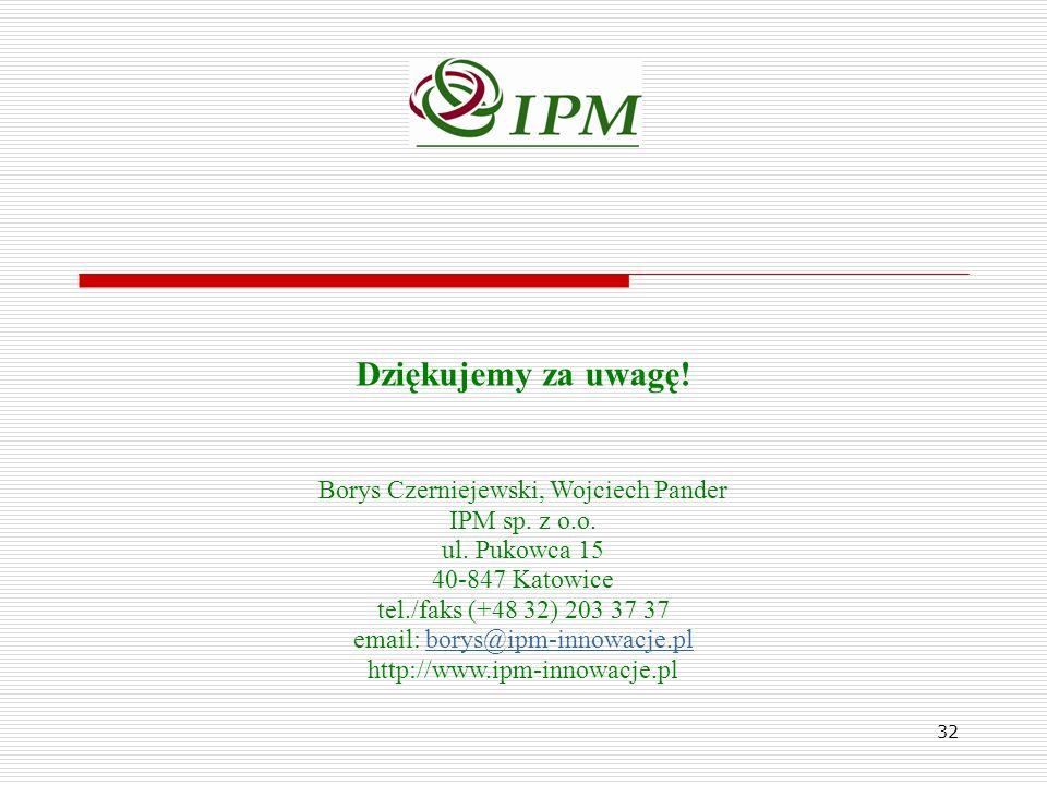 Dziękujemy za uwagę! Borys Czerniejewski, Wojciech Pander IPM sp. z o.o. ul. Pukowca 15 40-847 Katowice tel./faks (+48 32) 203 37 37 email: borys@ipm-