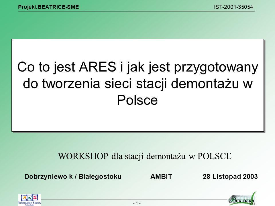 Projekt BEATRICE-SME IST-2001-35054 - 12 - Podsumowanie Projekt BEATRICE SME pozwolił udoskonalić system ARES Ugruntował przekonanie że szanse na działanie w zakresie recyklingu pojazdów mają powiązane w sieci stacje demontażu Zwrócił uwagę na możliwości współpracy międzynarodowej Integracja Polski z krajami UE powinna dać szanse obniżenia koszów recyklingu i podniesienia efektywności działania System ARES jest otwarty dla każdej stacji demontażu która chce konkurować z innymi firmami.