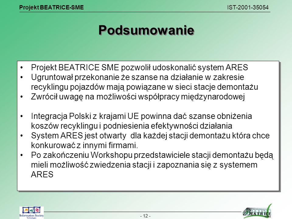Projekt BEATRICE-SME IST-2001-35054 - 12 - Podsumowanie Projekt BEATRICE SME pozwolił udoskonalić system ARES Ugruntował przekonanie że szanse na dzia