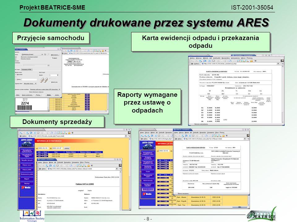 Projekt BEATRICE-SME IST-2001-35054 - 8 - Dokumenty drukowane przez systemu ARES Rozliczanie przyjętej masy samochodu Raporty wymagane przez ustawę o