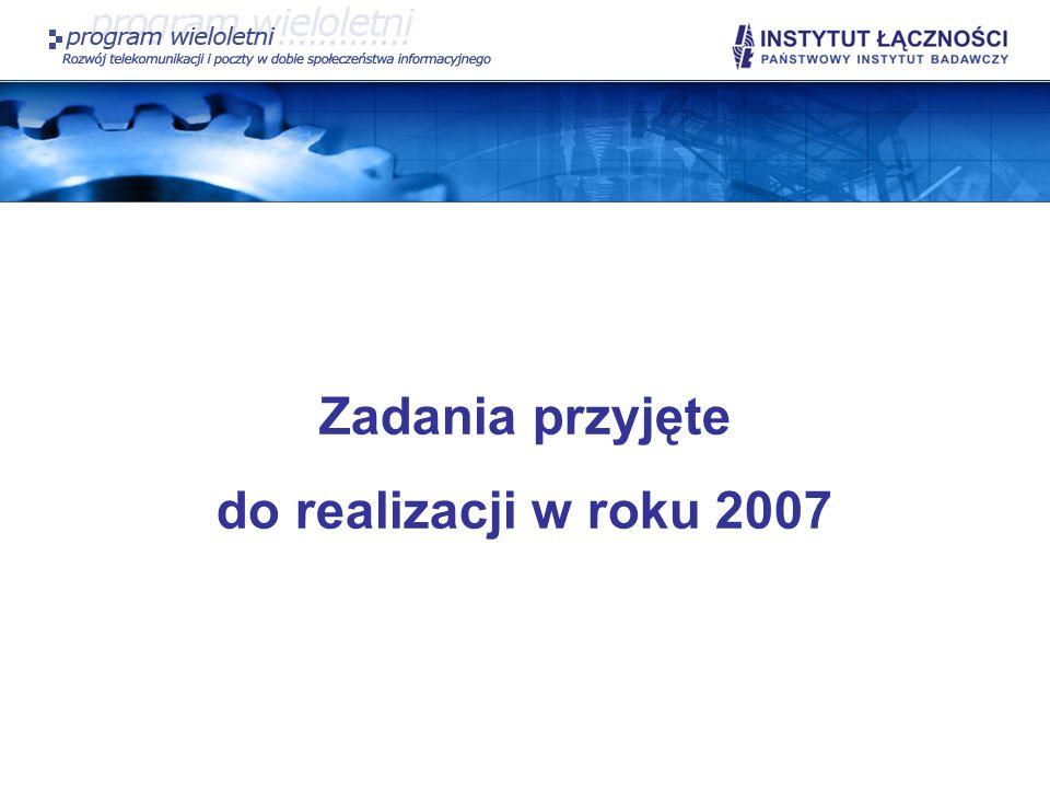 SP II.6 Wynikiem realizacji zadania będą: Opis zapotrzebowania na nowe zakresy częstotliwości oraz przekształceń przeznaczeń zakresów częstotliwości w aspekcie rozwoju systemów radiowych dla wybranych służb radiowych: radiolokalizacji, radionawigacji, służb radioamatorskich oraz rozwoju systemów krótkozasięgowych; Opis prac prowadzonych w Europie w dziedzinie gospodarki częstotliwościowej; Opis prac Światowej Konferencji Radiokomunikacyjnej (WRC07), przedstawienie propozycji europejskich oraz wyników tej konferencji.