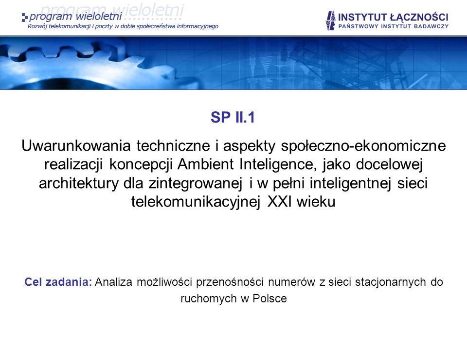 SP II.1 Uwarunkowania techniczne i aspekty społeczno-ekonomiczne realizacji koncepcji Ambient Inteligence, jako docelowej architektury dla zintegrowan