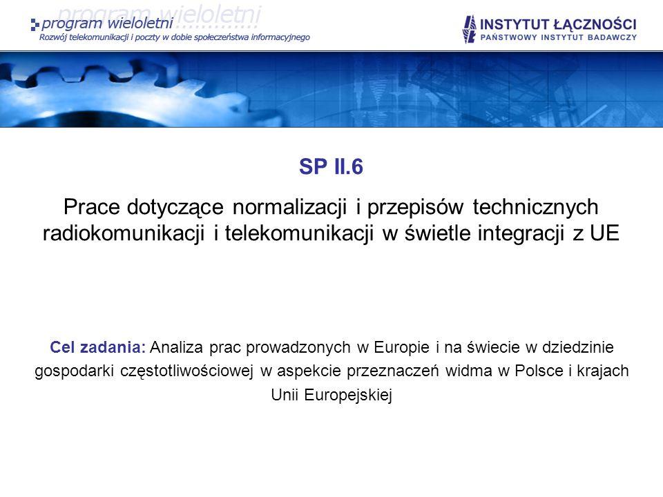 SP II.6 Prace dotyczące normalizacji i przepisów technicznych radiokomunikacji i telekomunikacji w świetle integracji z UE Cel zadania: Analiza prac p