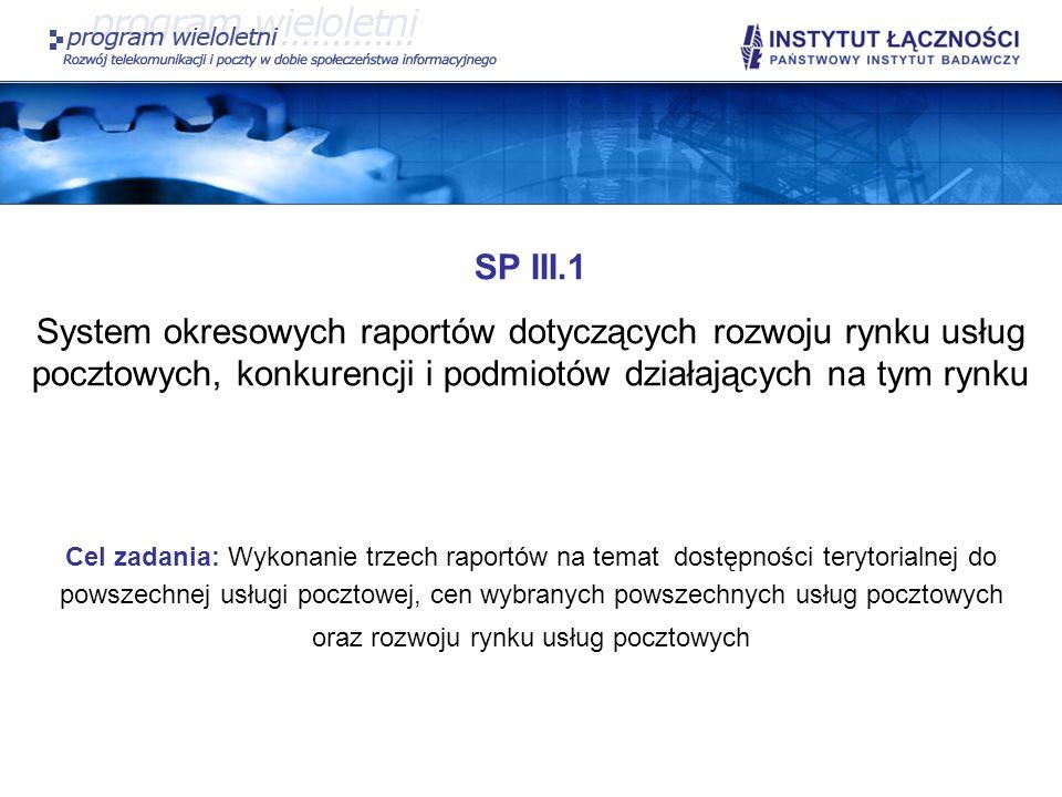 SP III.1 System okresowych raportów dotyczących rozwoju rynku usług pocztowych, konkurencji i podmiotów działających na tym rynku Cel zadania: Wykonan