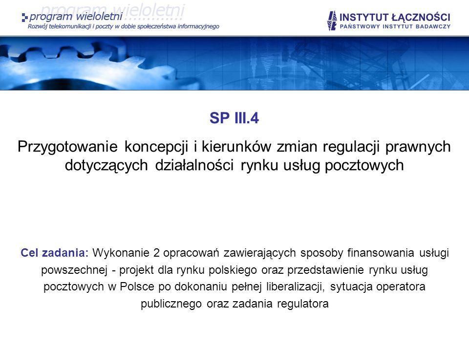SP III.4 Przygotowanie koncepcji i kierunków zmian regulacji prawnych dotyczących działalności rynku usług pocztowych Cel zadania: Wykonanie 2 opracow