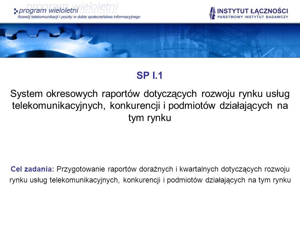 SP II.9 W ramach realizacji zadania zaplanowano: Opracowanie projektu katalogu wskaźników jakości usług telekomunikacyjnych wraz z definicjami, jako propozycji UKE do uzgodnienia z operatorami – w zakresie pokrywającym wymagania PT oraz nowo wprowadzone usługi i technologie ich wykonywania; Opracowanie zunifikowanej metodyki badań i pomiarów oraz metody statystycznej obróbki danych pozwalającej na ujednolicenie procedur badawczych i oceny jakości usług; Przygotowanie propozycji zmiany rozporządzenia Ministra Infrastruktury z dnia 24 marca 2005 r.