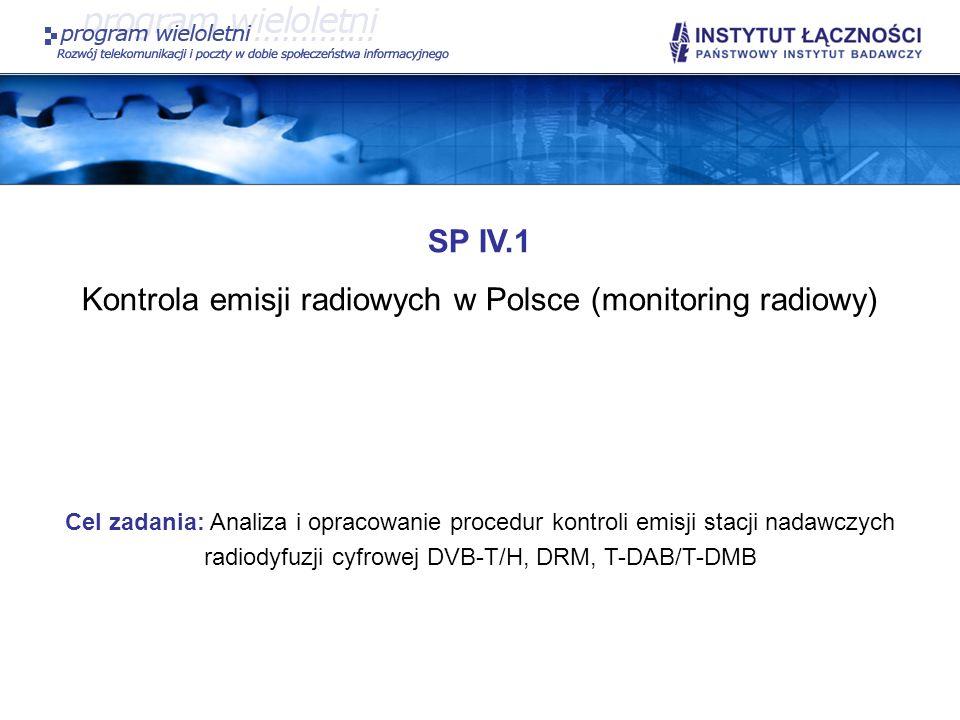 SP IV.1 Kontrola emisji radiowych w Polsce (monitoring radiowy) Cel zadania: Analiza i opracowanie procedur kontroli emisji stacji nadawczych radiodyf