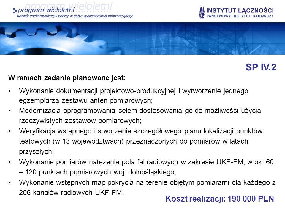 SP IV.2 W ramach zadania planowane jest: Wykonanie dokumentacji projektowo-produkcyjnej i wytworzenie jednego egzemplarza zestawu anten pomiarowych; M