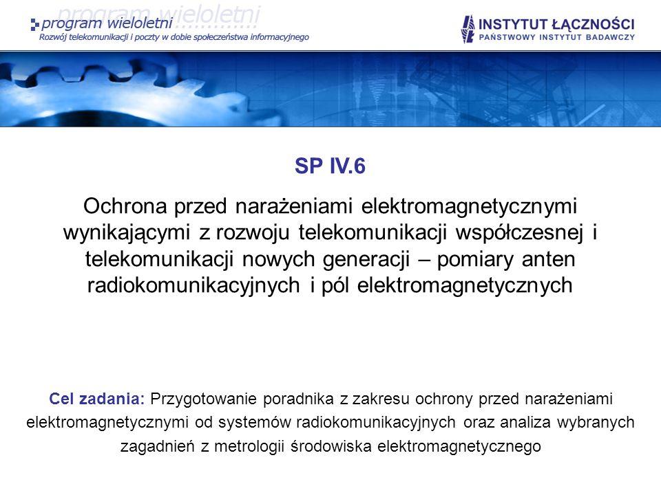 SP IV.6 Ochrona przed narażeniami elektromagnetycznymi wynikającymi z rozwoju telekomunikacji współczesnej i telekomunikacji nowych generacji – pomiar