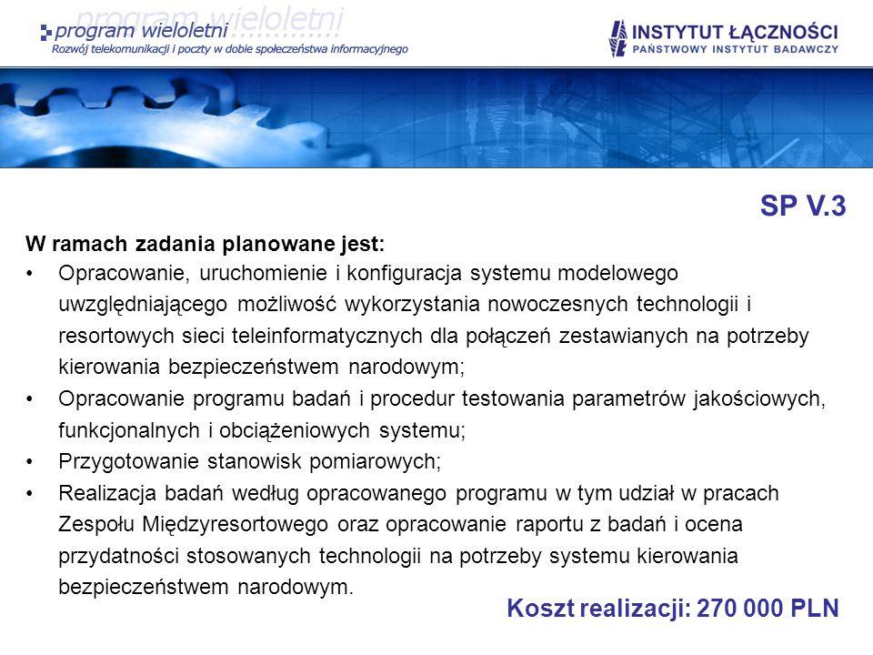 SP V.3 W ramach zadania planowane jest: Opracowanie, uruchomienie i konfiguracja systemu modelowego uwzględniającego możliwość wykorzystania nowoczesn