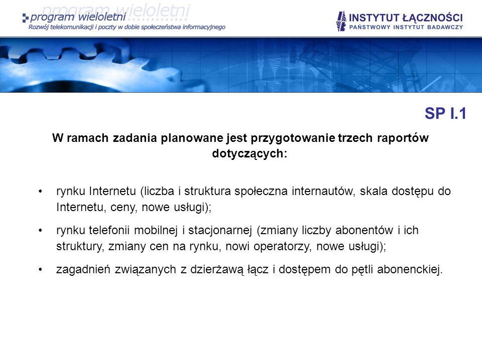 SP I.1 W ramach zadania planowane jest przygotowanie trzech raportów dotyczących: rynku Internetu (liczba i struktura społeczna internautów, skala dos