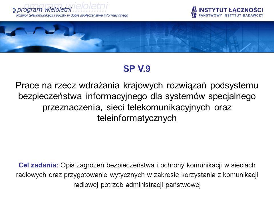 SP V.9 Prace na rzecz wdrażania krajowych rozwiązań podsystemu bezpieczeństwa informacyjnego dla systemów specjalnego przeznaczenia, sieci telekomunik