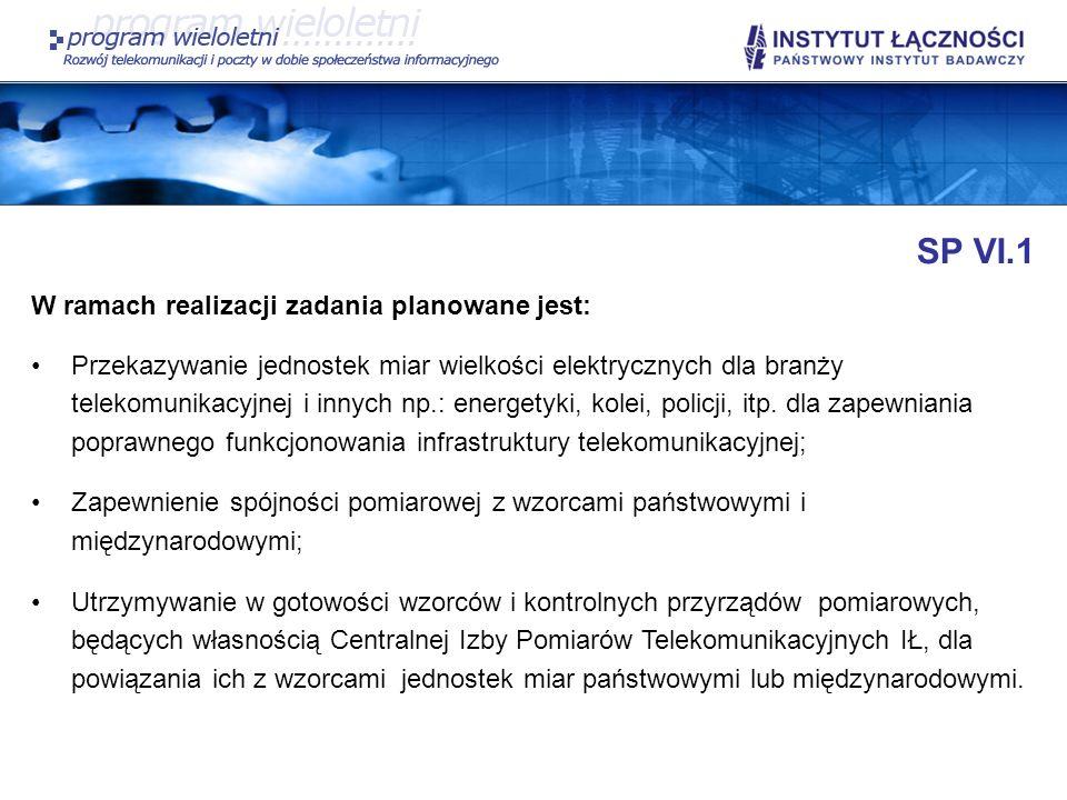 SP VI.1 W ramach realizacji zadania planowane jest: Przekazywanie jednostek miar wielkości elektrycznych dla branży telekomunikacyjnej i innych np.: e
